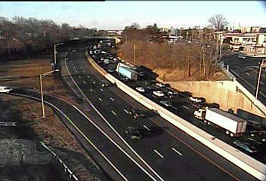 An overturned vehicle is causing northbound delays on I-95 in Stamford on Friday morning, Feb. 21, 2020. Photo: DOT Traffic Cam