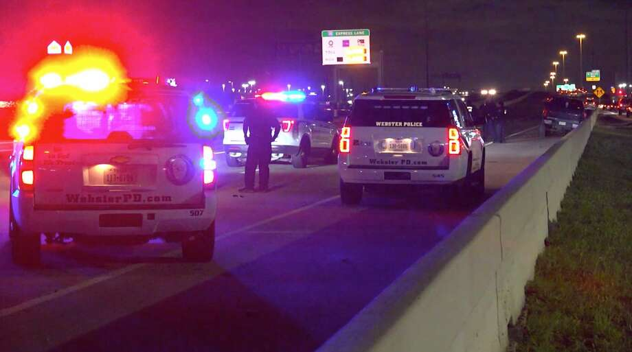 Police investigate the end of a police chase along Interstate 45 in Webster on Thursday, Feb. 20, 2020. Photo: OnScene.TV