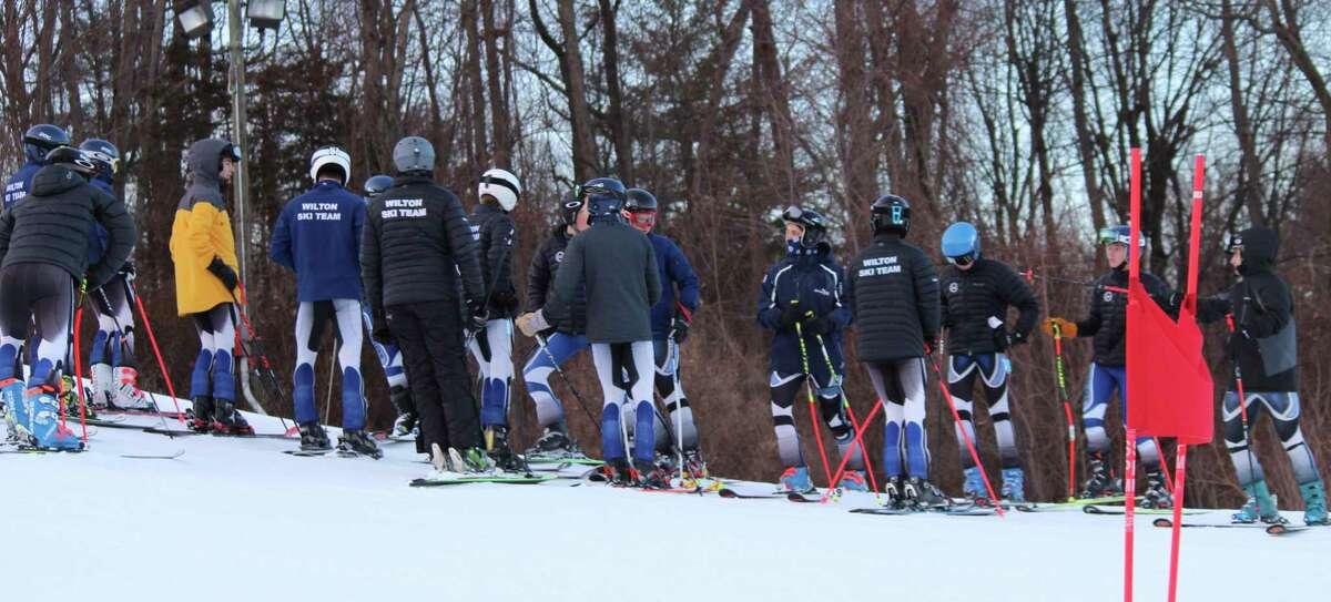 The Wilton boys ski team gathers before a recent race at Mount Southington.