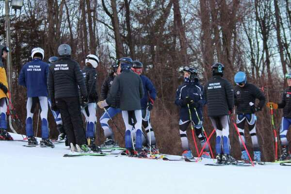 The Wilton boys ski team gathers before a recent race at Mount Southington.