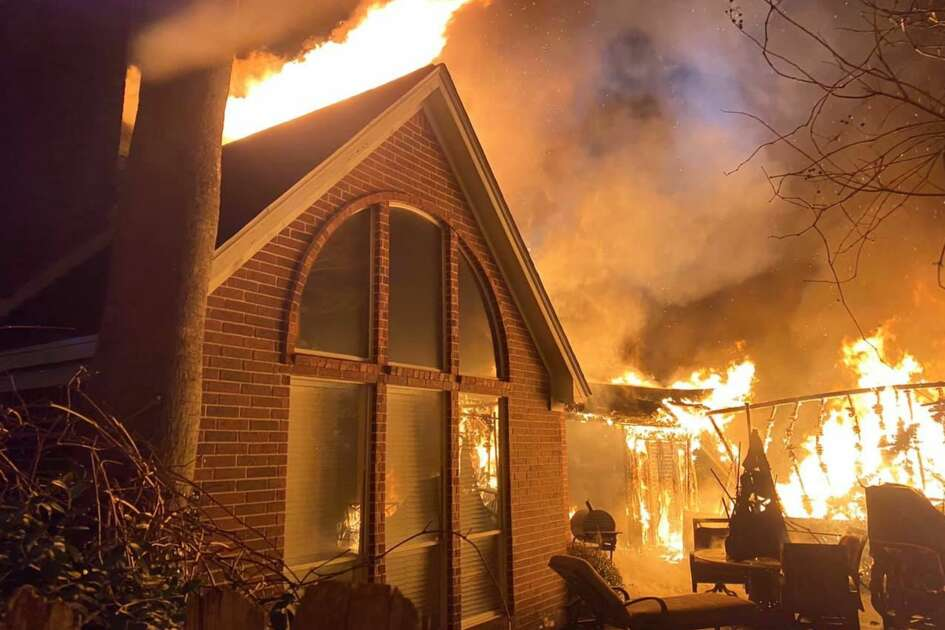 A home in The Woodlands sustains heavy fire damage after catching fire early Friday, Feb. 21, 2020.