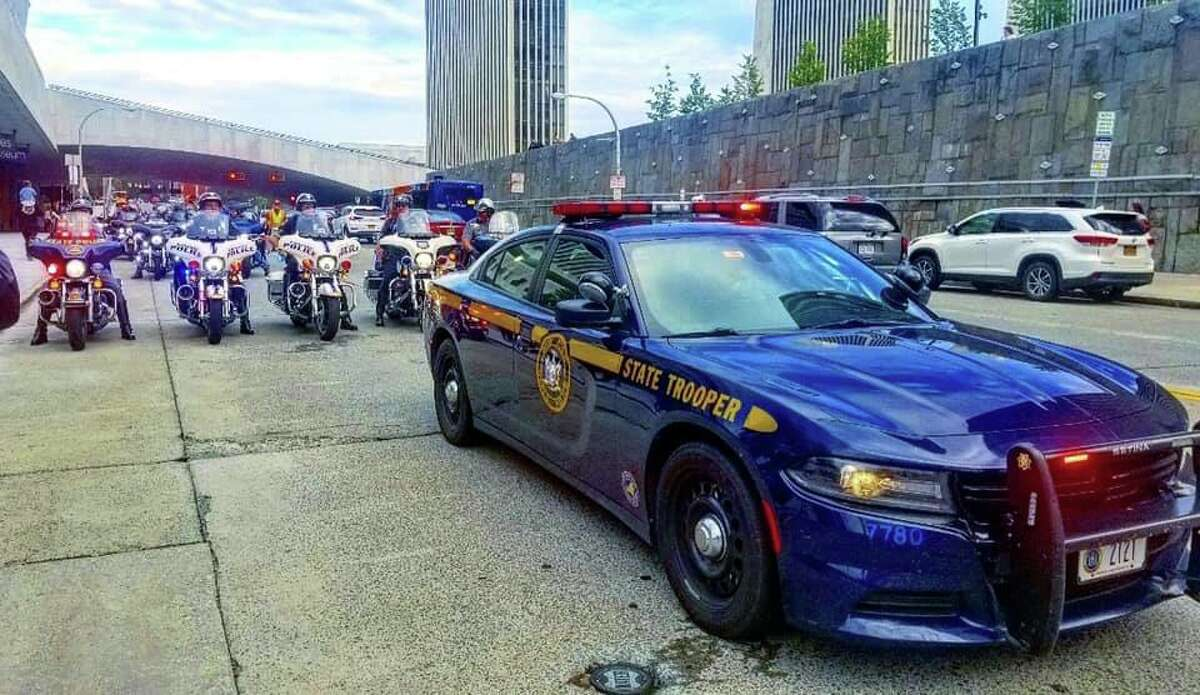 State Police Troop G and T officers escort the 9/11 Memorial Motorcycle Ride from the Empire State Plaza in Albany to lower Manhattan on Sept. 11, 2019.