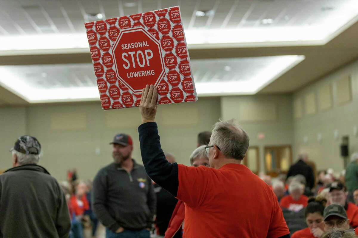 Residents of Montgomery County gathered at the Lone Star Convention Center in Conroe to show support of stopping the seasonal lowering of Lake Conroe's watershed, Thursday, Feb. 20, 2020.