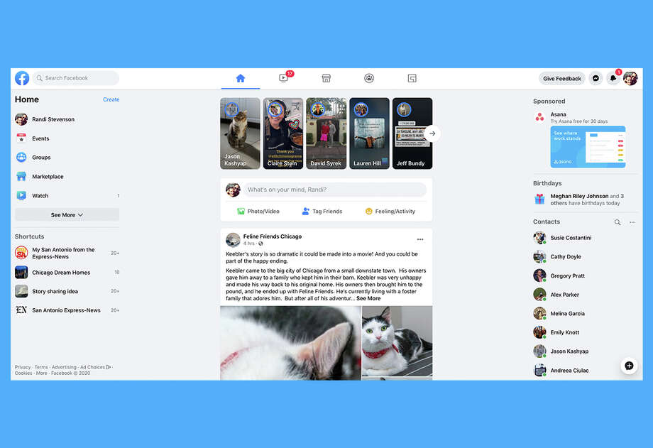 A look at Facebook's new design, which is being tested on some users. Photo: Facebook
