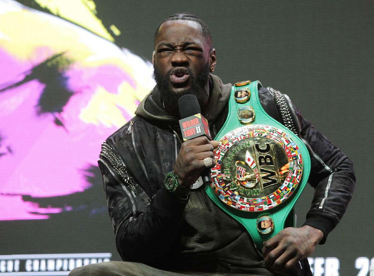 US boxer Deontay Wilder speaks during a press conference February 19, 2020 at the MGM Grand Las Vegas in Las Vegas, Nevada. - Wilder and British boxer Tyson Fury will fight for the World Boxing Council (WBC) Heavyweight Championship Title on February 22, 2020 at the MGM Grand Garden Arena in Las Vegas. (Photo by John Gurzinski / AFP) (Photo by JOHN GURZINSKI/AFP via Getty Images)