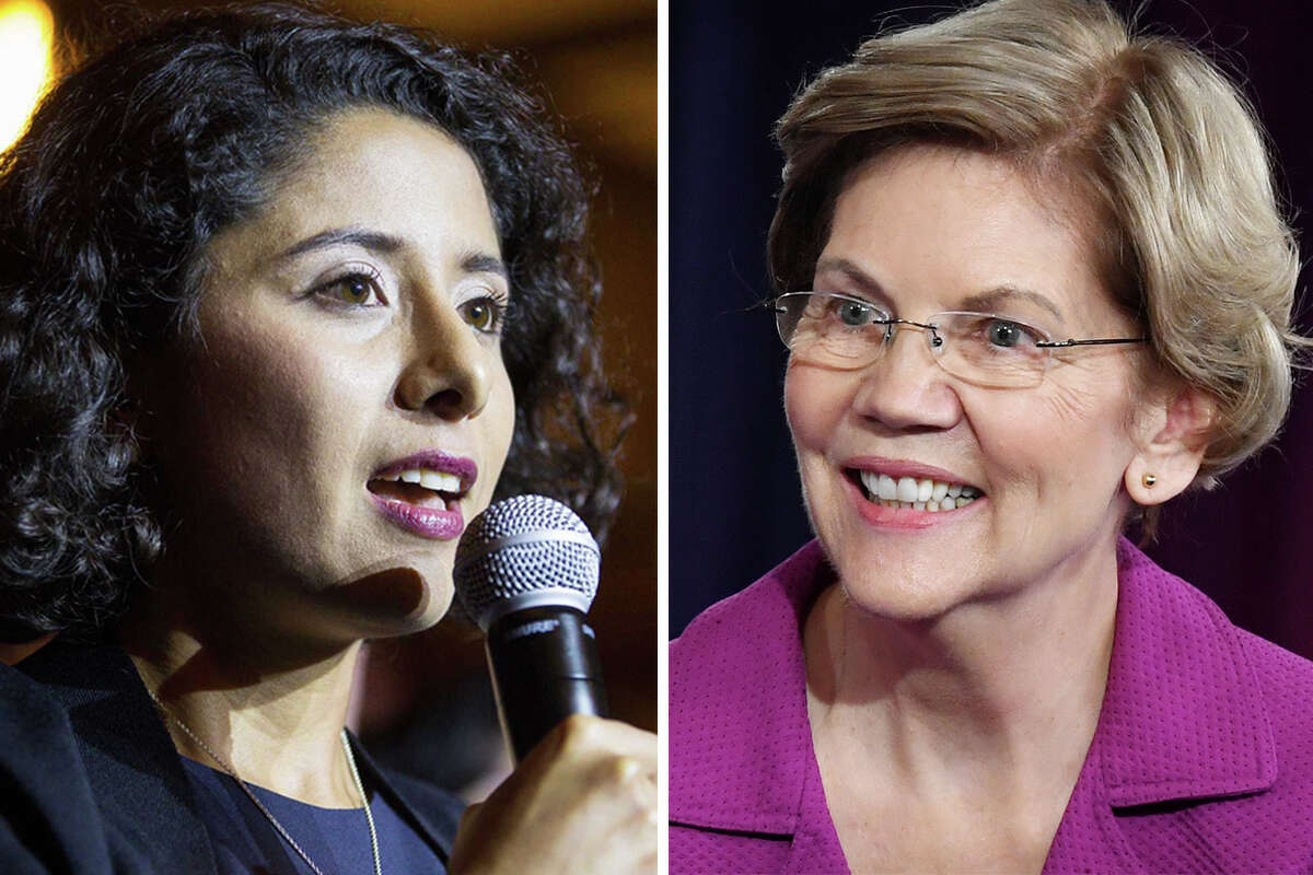 Judge Lina Hidalgo (left) is backing Sen. Elizabeth Warren (right) in the race for the Democratic nomination in the 2020 presidential election.