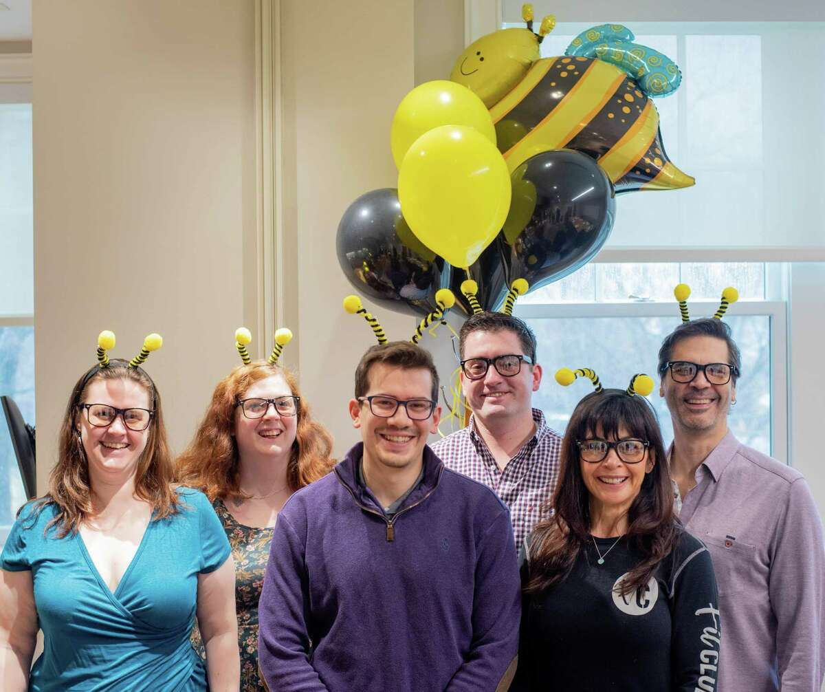 2020 Spelling Bee Contestants Liz Hartery; Emma Karl (standing in for Kyle Martinez of Ancona's); Ryan Arconti; Lieutenant Brian Durling; Naomi Collinge-Riek; Pete Goldstein.