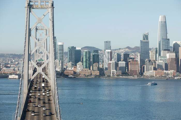 Cars move over the Bay Bridge into San Francisco, Calif. seen from Treasure Island Thursday, September 12, 2019.