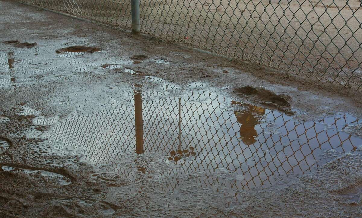 ATHLETICS2-C-26FEB03-SP-DF A lone Oakland A's player is reflected in a puddle at the Oakland Athletics spring training at Phoenix, Arizona. the heavy rains have limited the workouts. CHRONICLE PHOTO BY DEANNE FITZMAURICE