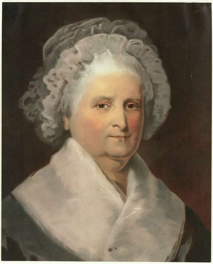 "Mariann Millard, a former licensed Washington, D.C., tour guide, will be presenting ""First Ladies: An Adventure in Glamour, Guts & Gumption"" at Newtown's Cyrenius Booth Library on March 8. Pictured is Martha Washington. Photo: Boston Public Library / Contributed Photo"