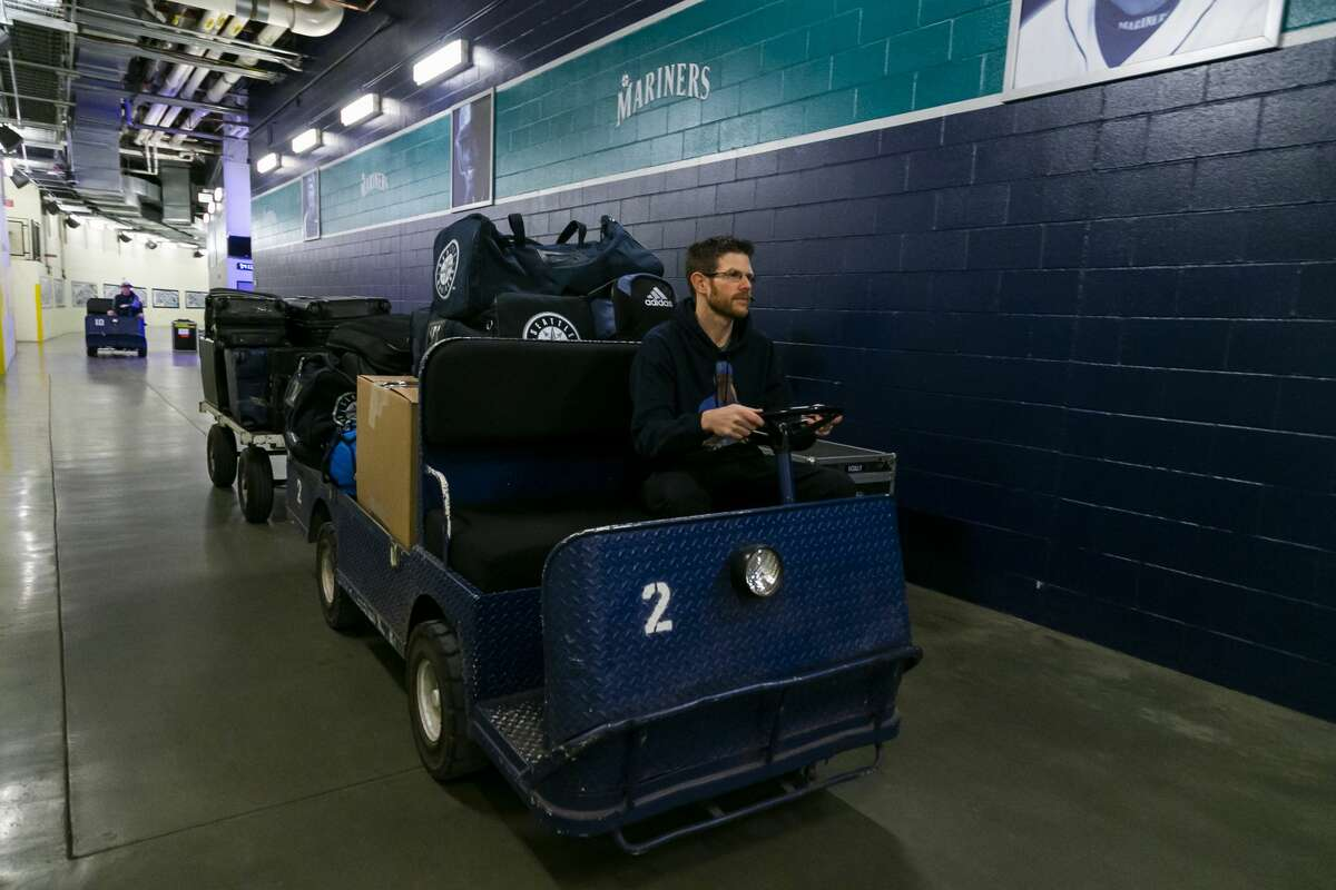Transporting Seattle Mariners gear to the truck headed to the Peoria Sports Complex for 2020 spring training.