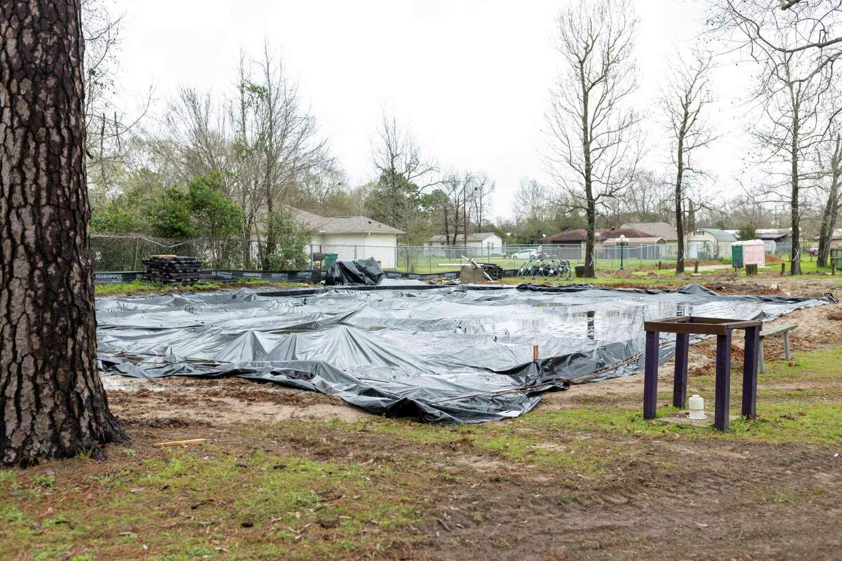 Tarp lays over the old playground area at MLK Park in Willis, Thursday, Feb. 20, 2020. Construction is expected to be completed by March 5.