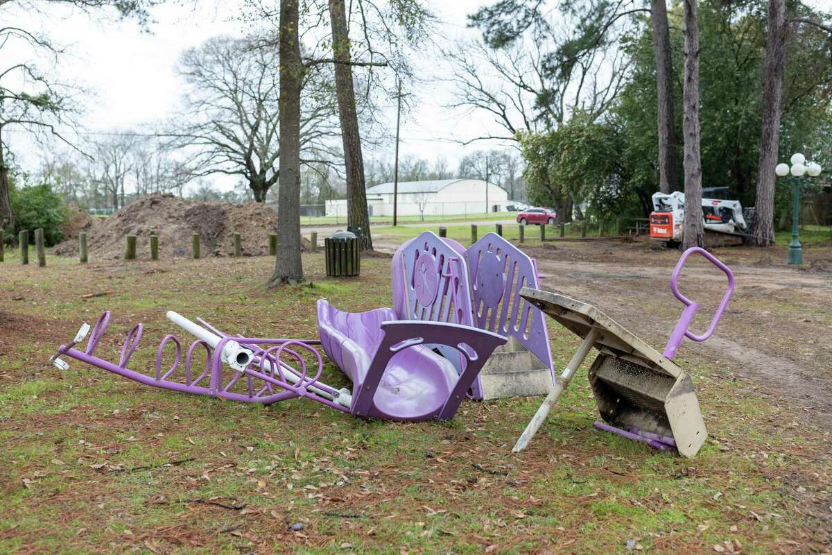 Pieces of the old playground are found laying around MLK Park in Willis, Thursday, Feb. 20, 2020. Construction will include a new playground, poured concrete, digging of trenches and a new splash pad.