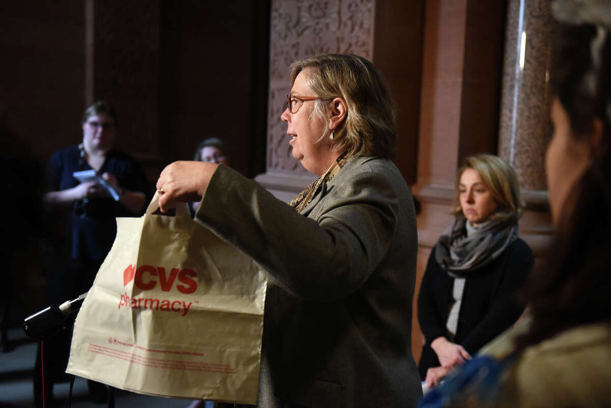 Former EPA administrator Judith Enck speaks during a press conference where environmental advocates raised concerns over a provision in the state's plastic bag ban that would allow use of thicker plastic bags on Friday, Jan. 31, 2020, at the Capitol in Albany, N.Y. State DEC considers thicker plastic bags to be reusable. The law takes effect on March 1. (Will Waldron/Times Union)