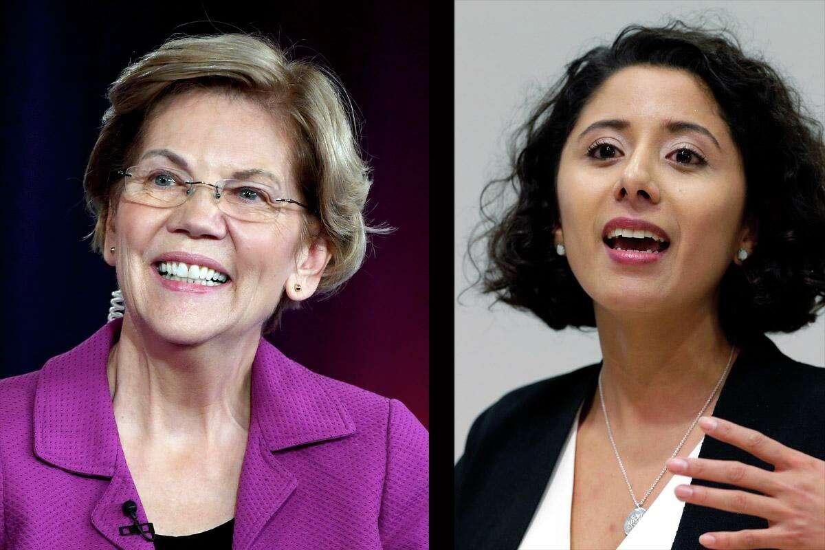 Harris County Judge Lina Hidalgo, right, has endorsed Elizabeth Warren for President.