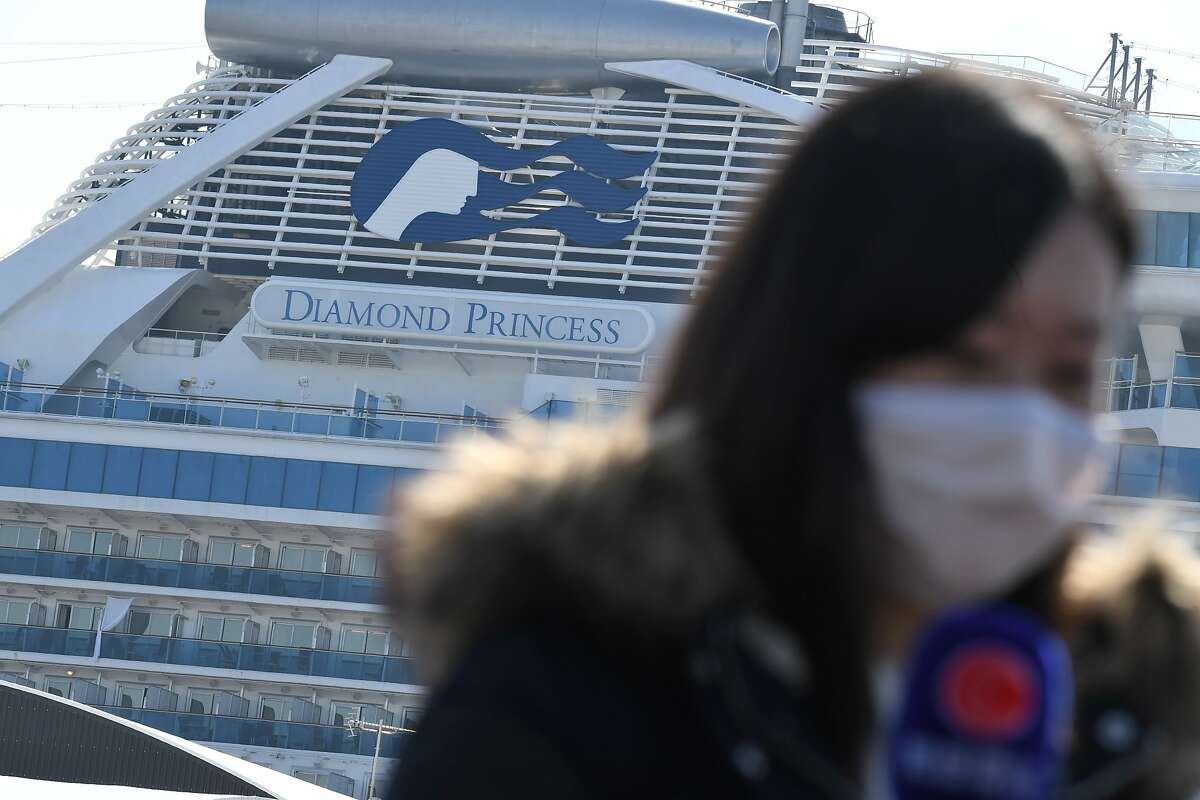 TOPSHOT - The Diamond Princess cruise ship, in quarantine due to fears of new COVID-19 coronavirus, is seen at Daikoku pier cruise terminal in Yokohama on February 21, 2020. - Hundreds of people have been allowed to leave the ship after testing negative for the disease and many have returned to their home countries to face further quarantine. (Photo by Philip FONG / AFP) (Photo by PHILIP FONG/AFP via Getty Images)