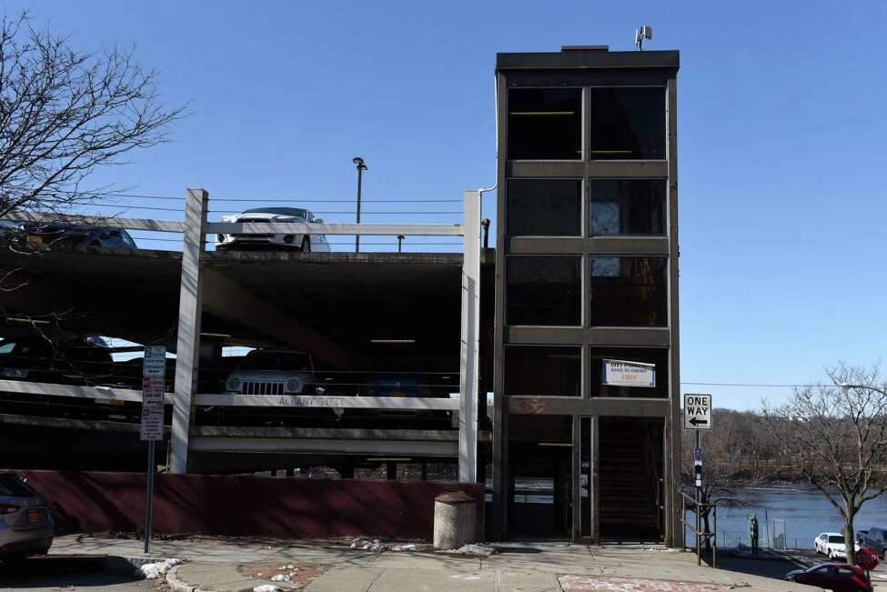 Exterior of the State Street Garage on Friday, Feb. 21, 2020, in Troy, N.Y. The city expects to spend $1.4 million to tear down and replace the State Street Garage stair tower, replace lights and the drainage system and make other repairs as needed. (Will Waldron/Times Union)