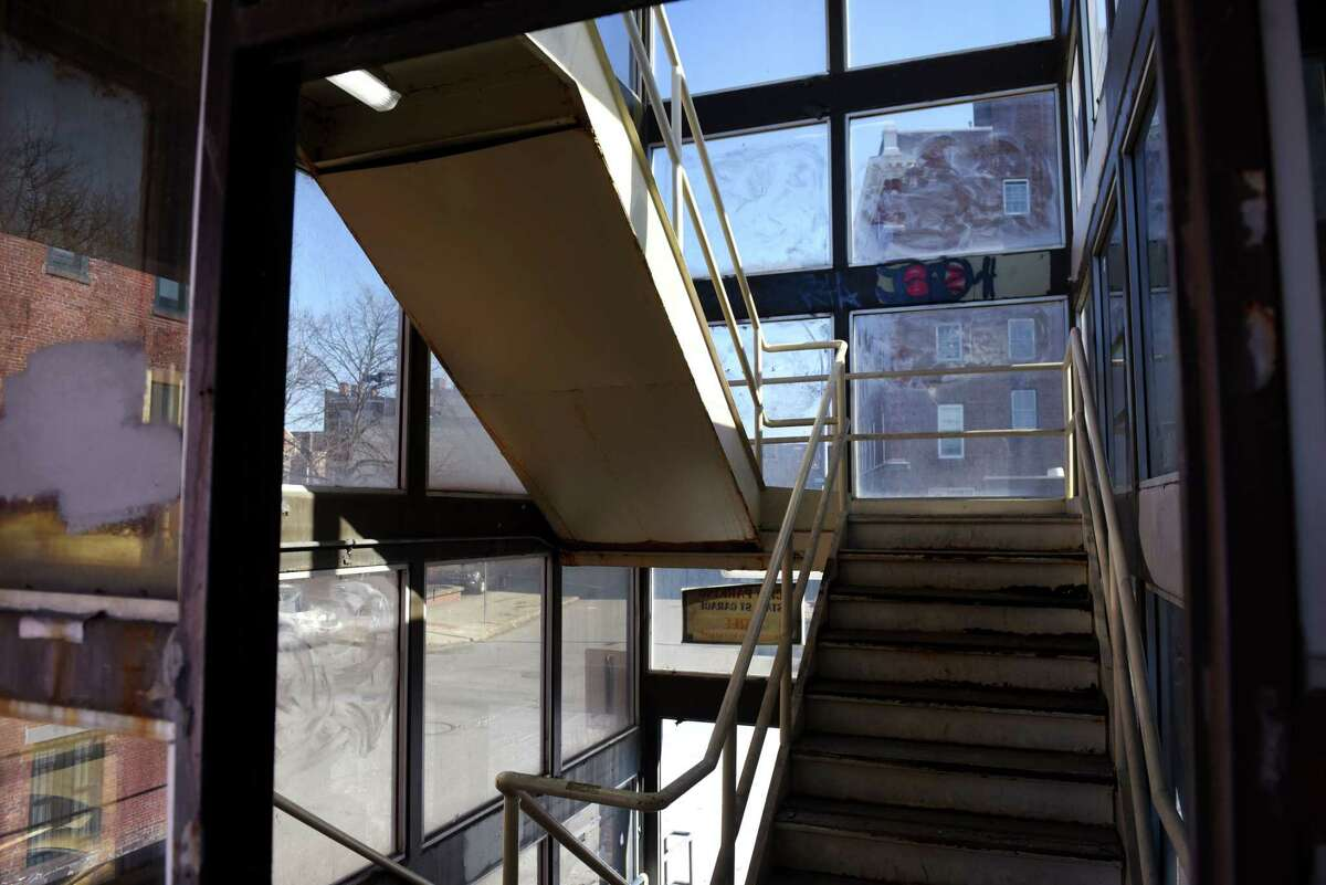Stairwell inside the State Street Garage on Friday, Feb. 21, 2020, in Troy, N.Y. The city expects to spend $1.4 million to tear down and replace the State Street Garage stair tower, replace lights and the drainage system and make other repairs as needed. (Will Waldron/Times Union)