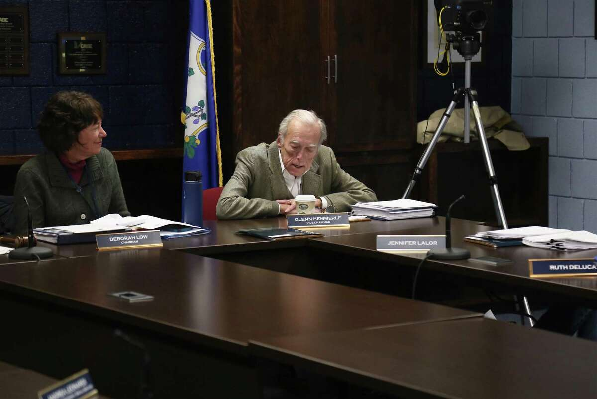Wilton Board of Education Vice Chair Glenn Hemmerle voices his support for the new budget as Chair Deborah Low looks on at Thursday night's meeting.