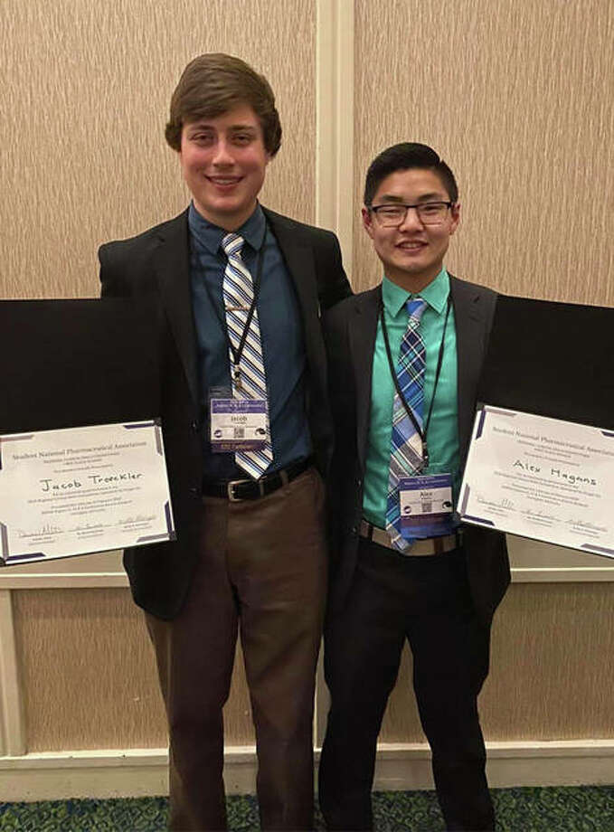 SIUE School of Pharmacy third-year students, from left, Jacob Troeckler and Alex Hagans won the Student National Pharmaceutical Association's Regional Clinical Skills Competition Feb. 14-16 in Lexington, Kentucky.