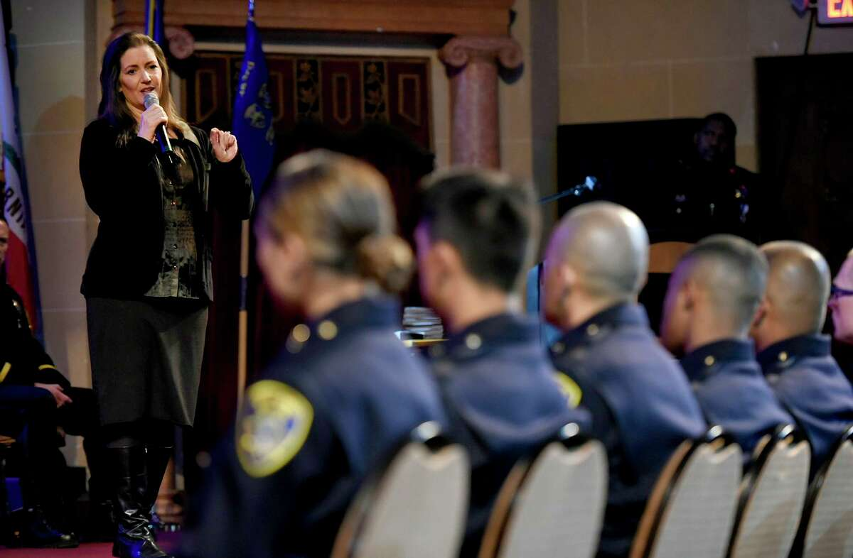 Oakland Mayor Libby Schaaf addresses attendees at the Oakland Police Department's 183rd Basic Recruit Academy Graduation on Friday, Feb. 21, 2020 in Oakland, Calif. The Oakland Police Commission, with the approval of Mayor Schaaf, terminated Police Chief Anne Kirkpatrick on Thursday night.