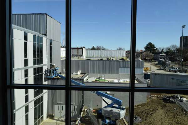 View of construction work from the new Albany High School expansion on Friday, Feb. 21, 2020, in Albany, N.Y. The improvements are part of the first phase of the district?•s $180 million renovation and expansion of the school. (Will Waldron/Times Union)