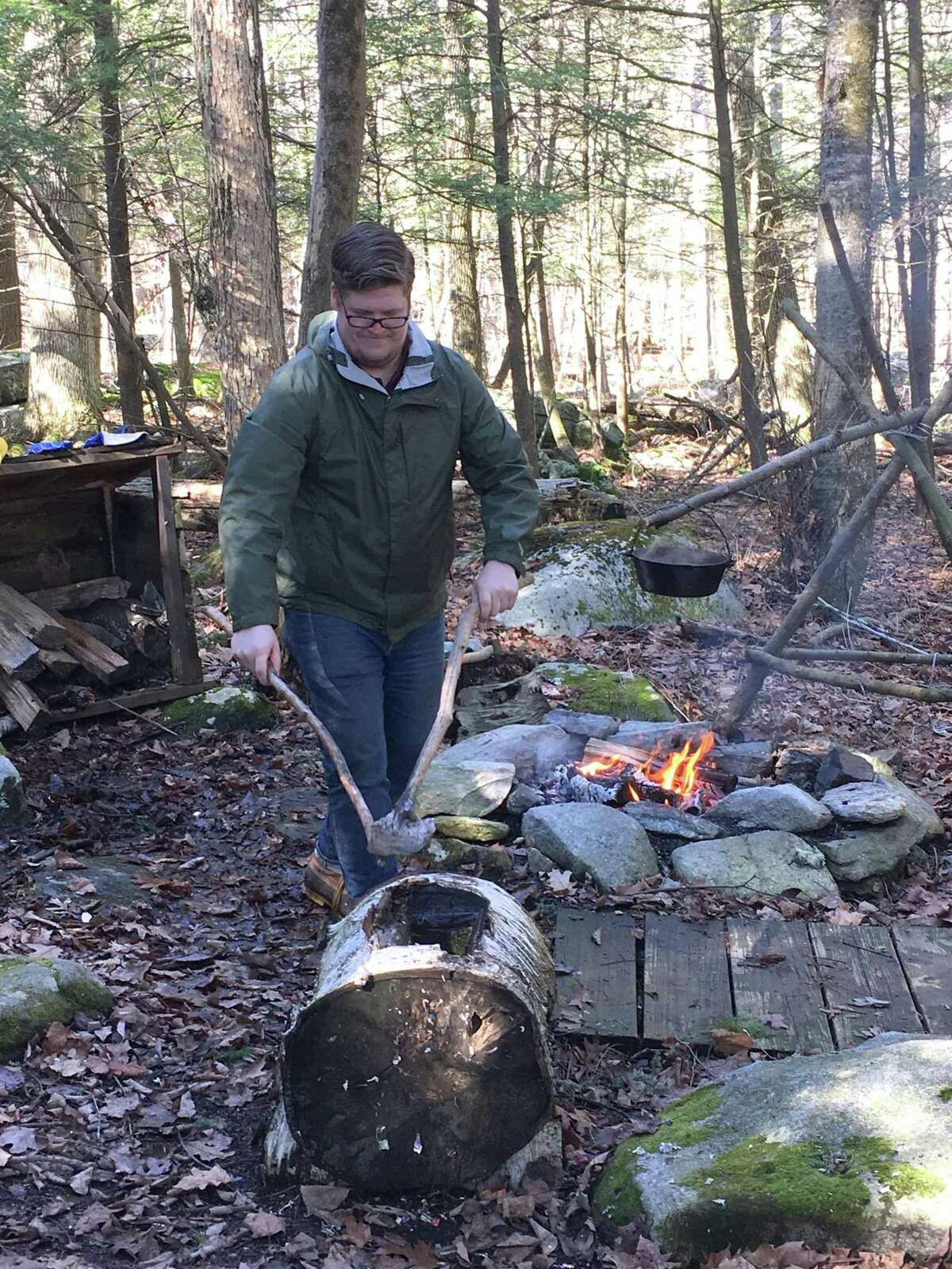Native Americans would often cook down maple syrup by heating stones and dropping them in a hollowed out log filled with sap.