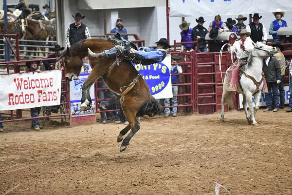 Frank Phillips College's Bubba Holcomb competes in bareback riding at the Odessa College Rodeo on Thursday, Feb. 20, 2020 at the Ector County Coliseum.
