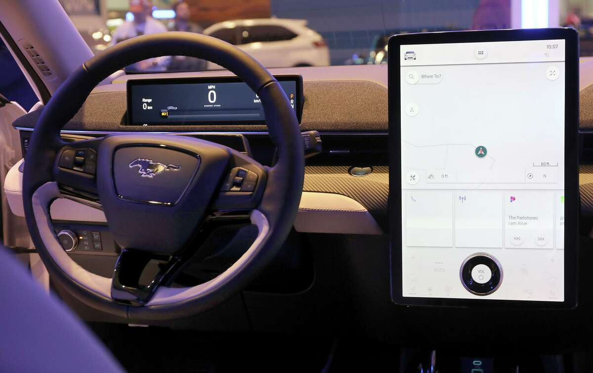 Interior and screen display inside the Ford Mustang Mach-E, all electric vehicle on display at the Chicago Auto Show at McCormick Pace on February 6, 2020. (Antonio Perez/Chicago Tribune/TNS)
