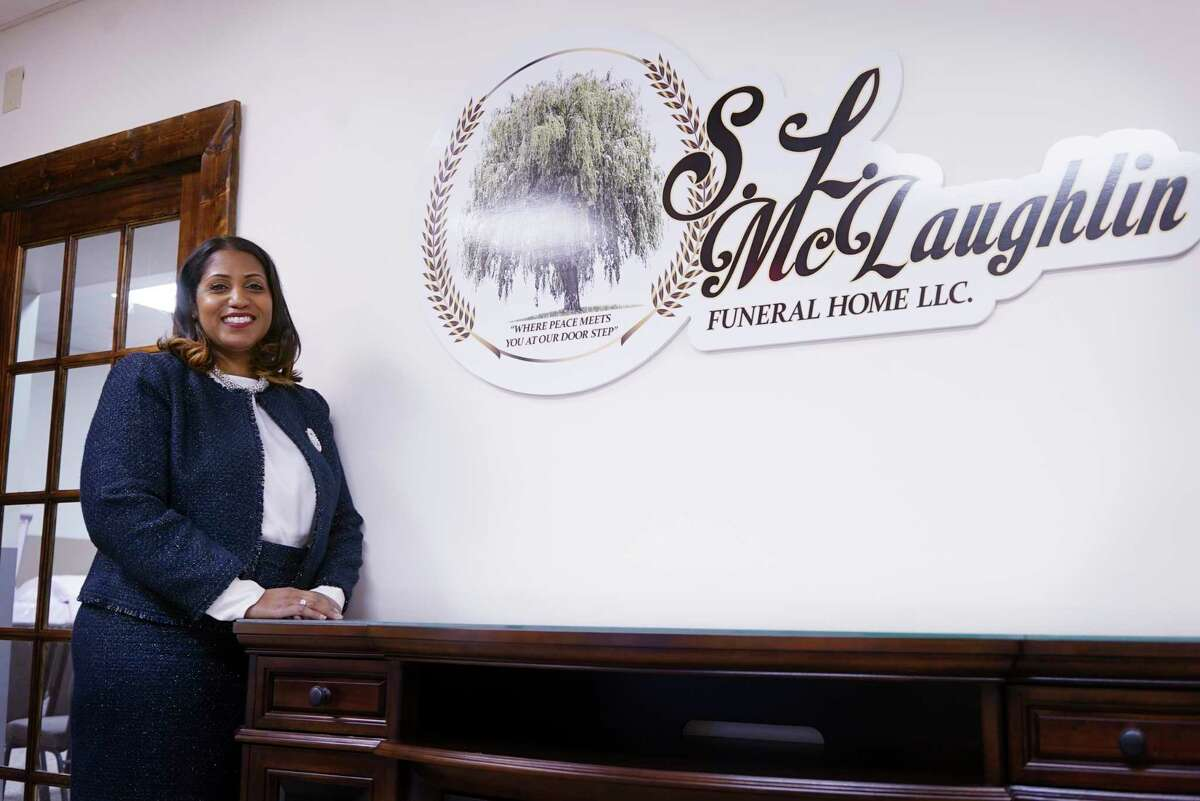 Shannon McLaughlin founder and owner of the S.L. McLaughlin Funeral Home, at here business on Monday, Jan. 13, 2020, in Albany, N.Y. (Paul Buckowski/Times Union)
