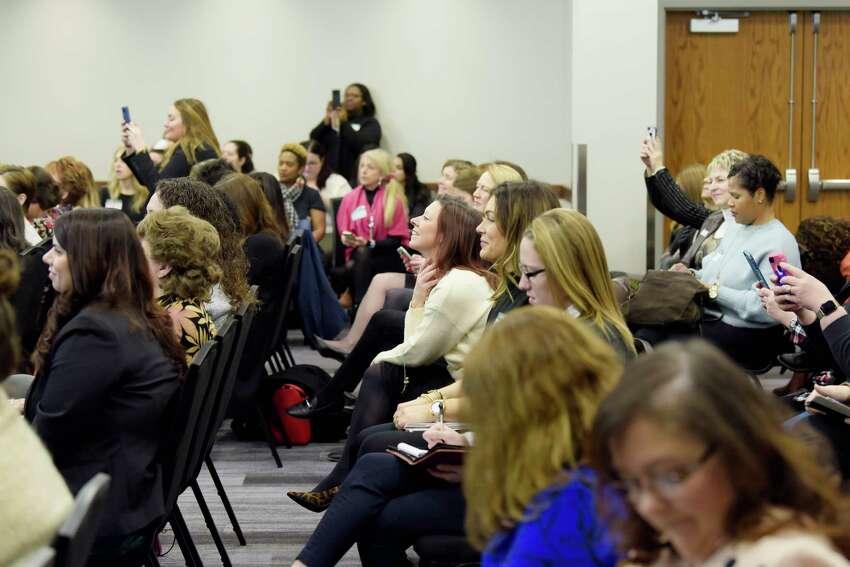 Women take part in the Women@Work breakfast event, a workshop on networking by Khamali Brown, of Dale Carnegie, on Wednesday, Jan. 8, 2020, in Colonie, N.Y. (Paul Buckowski/Times Union)