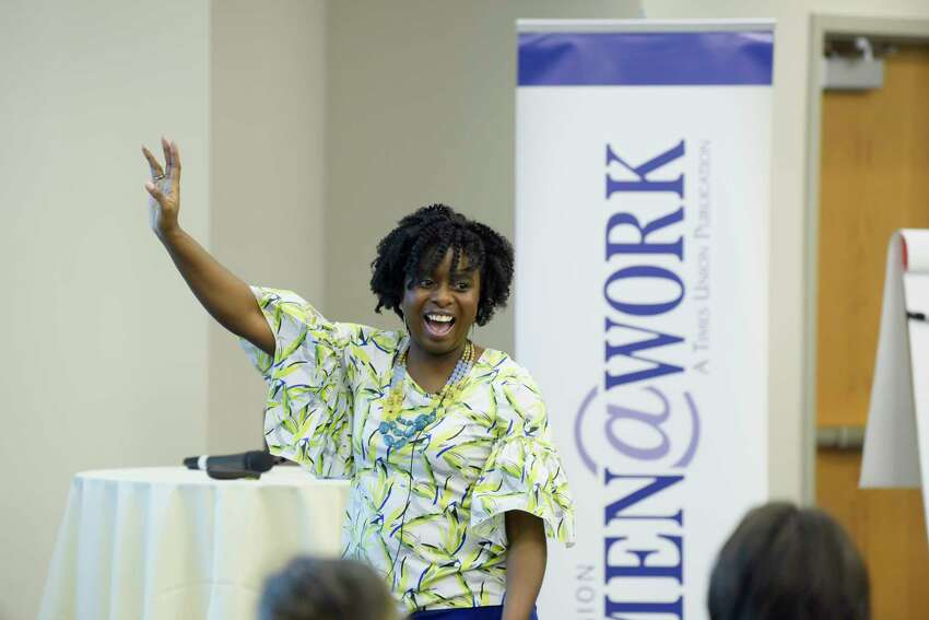 Khamali Brown, of Dale Carnegie, speaks at the Women@Work breakfast event at the Hearst Media Center on Wednesday, Jan. 8, 2020, in Colonie, N.Y. (Paul Buckowski/Times Union)