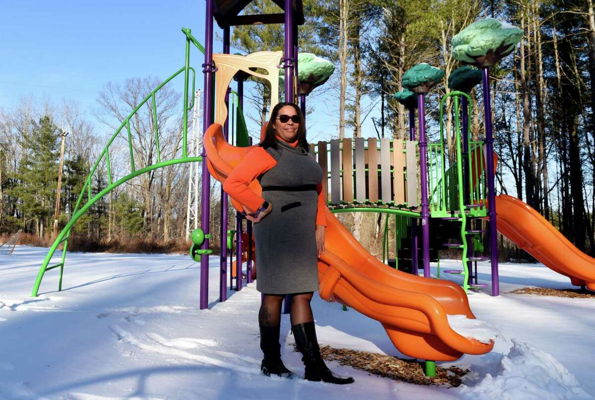 Laurel McAdoo is pictured in the Bethlehem YMCA playground named after her son, Myles, who died of brain cancer in 2012, on Wednesday, Jan. 22, 2020, in Bethlehem, N.Y. (Will Waldron/Times Union)