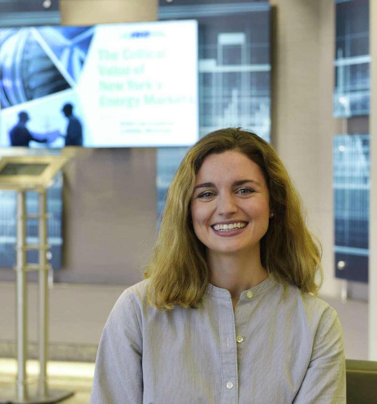 Meghan Castellano, a installed capacity market operations engineer at NYISO, poses for a photo at NYISO on Tuesday, Jan. 28, 2020, in Rensselaer, N.Y. (Paul Buckowski/Times Union)