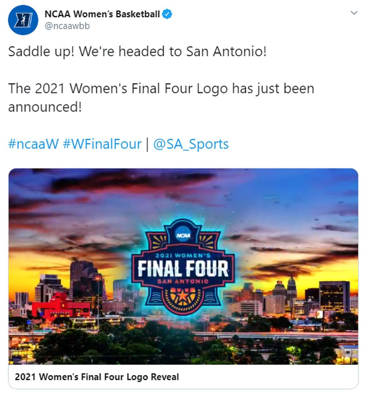 San Antonio Sports unveiled the 2021 logo during a UTSA women's basketball game Thursday evening. The graphic, which will be used throughout the NCAA tournament and the corresponding events, was designed by Section 127, an Indianapolis-based design firm, according to a San Antonio Sports news release.