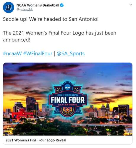 San Antonio Sports unveiled the 2021 logo during a UTSA women's basketball game Thursday evening. The graphic, which will be used throughout the NCAA tournament and the corresponding events, was designed by Section 127, an Indianapolis-based design firm, according to a San Antonio Sports news release.  Photo: Screenshot