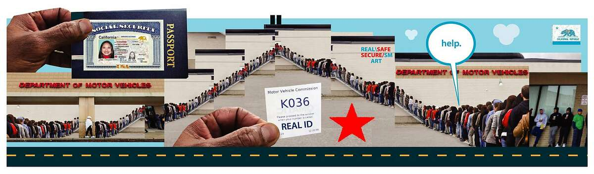 Photo illustration of people waiting in line at the DMV to procure their Real IDs.
