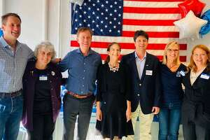 U.S. Rep. Jim Himes, New Canaan Selectman Kit Devereaux, Gov. Ned Lamont, Lt. Gov. Susan Bysiewicz, New Canaan First Selectman candidate Craig Donovan, New Canaan Democratic Town Committee Chair Christina Fagerstal and State Rep. Lucy Dathan at the New Canaan Democrats Headquarters Grand Opening Party, which took place on Sept. 19, 2019, at their 114 Main Street location.  The Headquarters is open daily from 10 a.m. until 8 p.m. until the election on Tuesday, Nov. 5, 2019. The Committee is also holding a Get Out The Vote Initiative Kick Off Party (also known as GOTV) for short) on Sunday, Nov. 3, 2019 at the Silvermine Market located at 1032 Silvermine Road in New Canaan, Connecticut. Photo: New Canaan Democratic Town Committee / Contributed photo