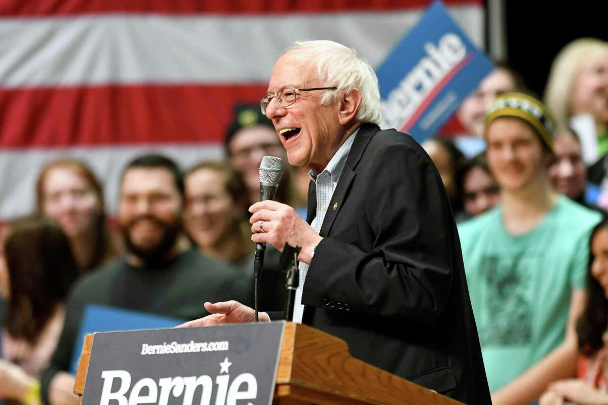 Democratic presidential candidate U.S. Sen. Bernie Sanders, I-Vt., speaks during a rally at Belk Theater at Blumenthal Performing Arts in Charlotte, N.C., Friday, Feb. 14, 2020. (David Foster III/The Charlotte Observer via AP)