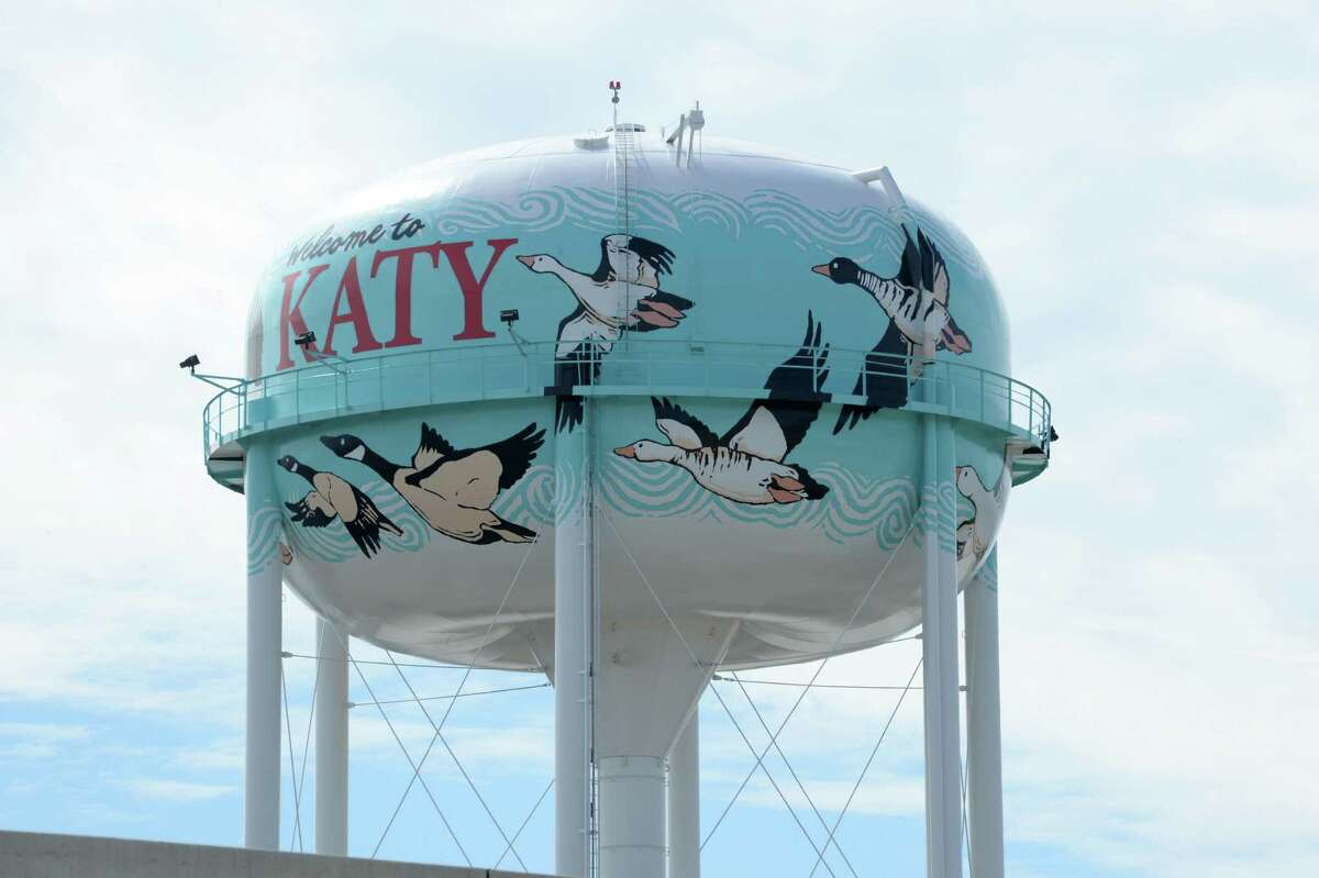 Katy, TX water tower on November 2, 2019.
