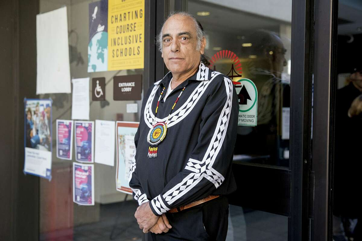 Washington High School mural supporter Choctaw Elder Tamaka Bailey, whose brother attended Washington High School, poses for a portrait before delivering letters of protest to the Superintendent's office at the San Francisco Unified School District administrative building in San Francisco, Calif. Friday, February 21, 2020. Supporters of the controversial Washington High School mural that depicts slavery and the killing of Native Americans believe that removing it will in turn erase the evidence of the brutal treatment of Native Americans.
