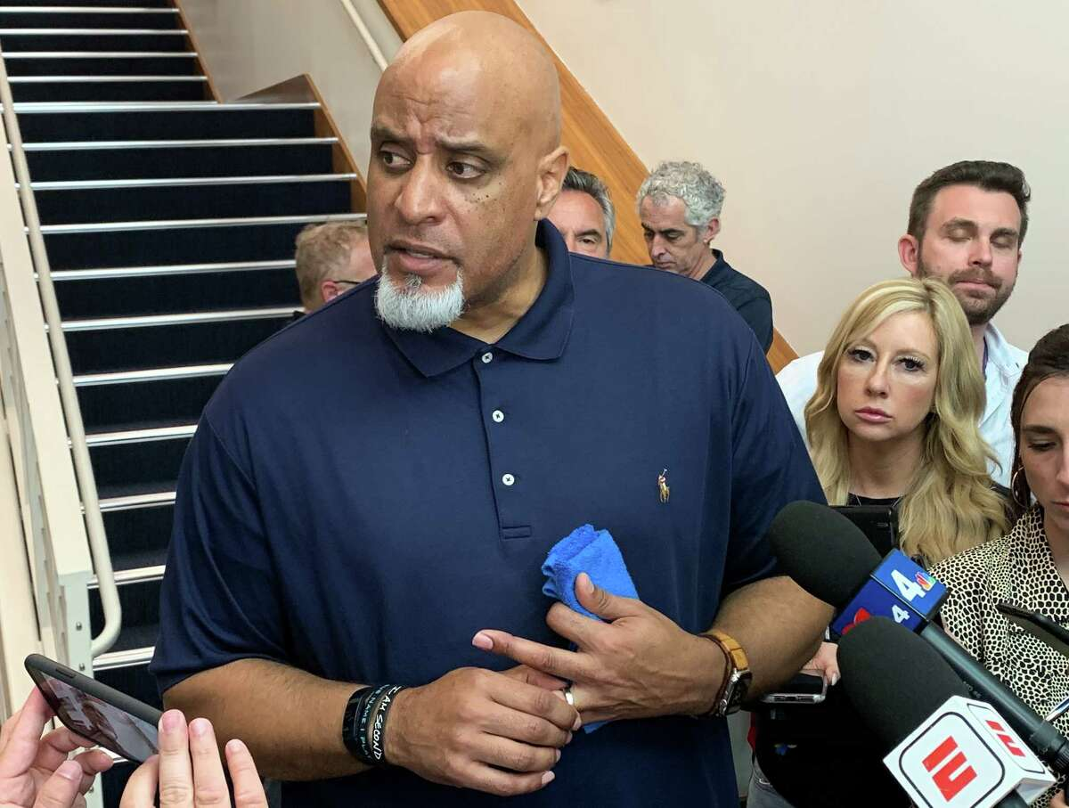 Executive Director of the Major League Baseball Players Association Tony Clark speaks to the press after a lengthy meeting with the Houston Astros players Friday, Feb. 21 in West Palm Beach.