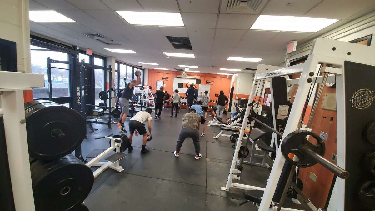 The Stamford High Boys Volleyball team working hard in the offseason with Coach Trey Simms.