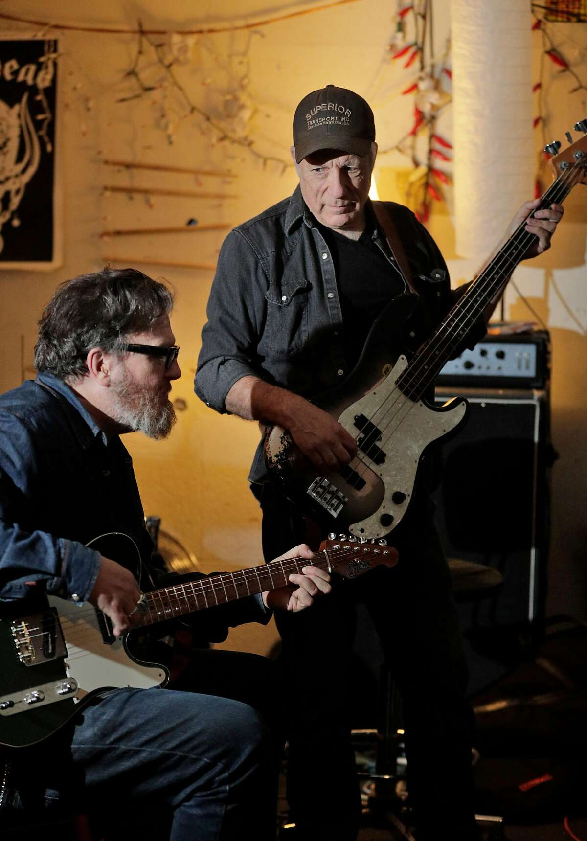 """Musicians, from left, Tom Heyman, left, and Maurice Tani, rehearing for """"Tribute for Ron Loney,"""" in San Francisco, Calif., on Thursday, February 20, 2020. Musicians fear that AB5, California's new gig-work law, will demolish their industry. We are photographing (who should be in the photo as well). We want a feeling of musicians rehearsing."""