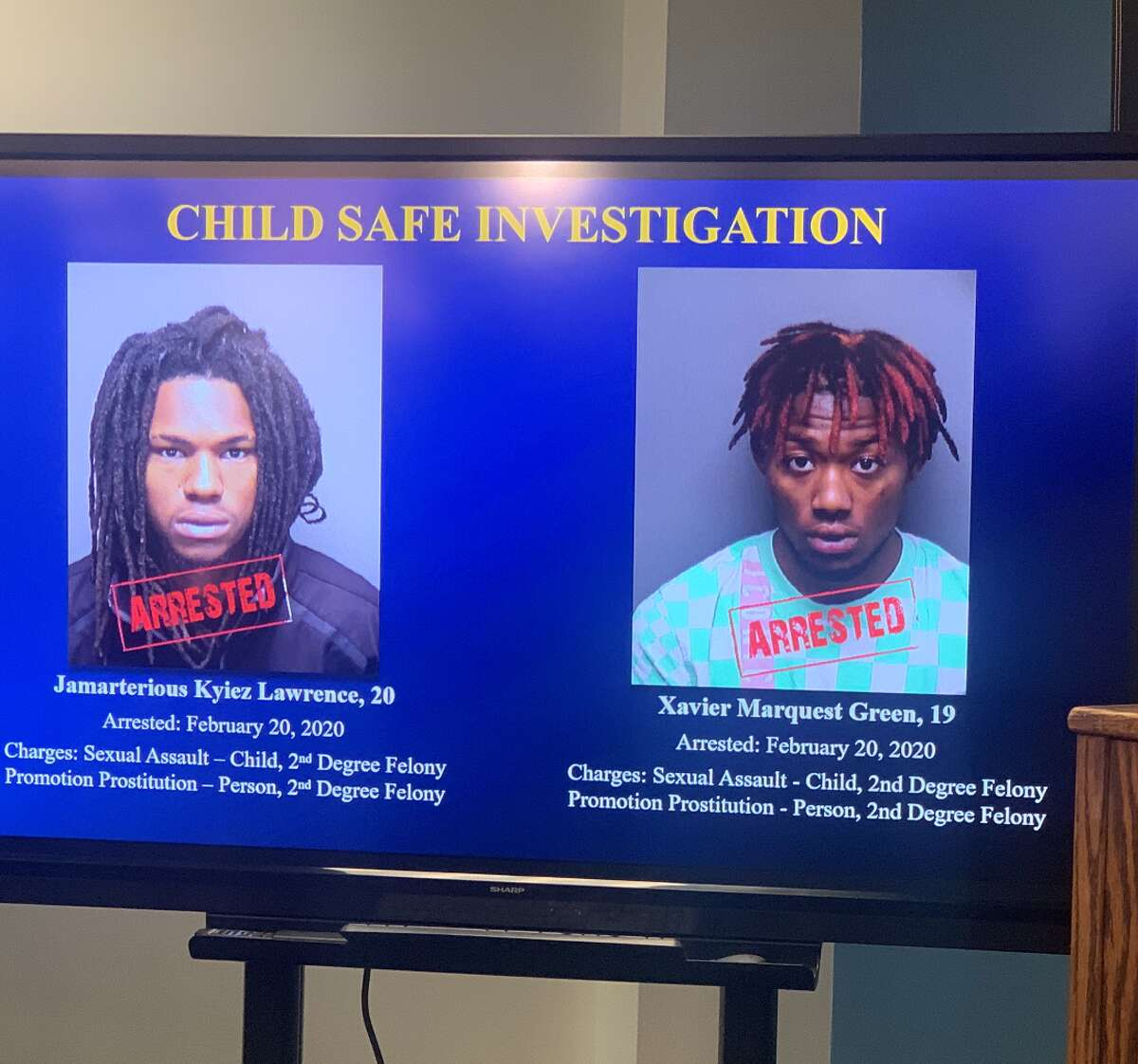 Jamarterious Kyiez Lawrence, 20, and Xavier Marquest Green, 19, were both arrested and charged with sexual assault with a child and promotion of prostitution on Thursday.