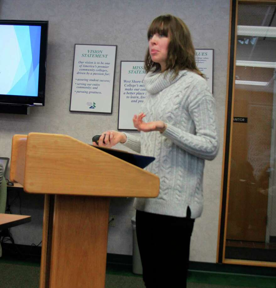 West Shore Community College director of Enrollment & Student Engagement Annie Jacobson talks with the board of trustees about the MI-BEST plan that is being implemented at the college to help eliminate barriers so students can succeed. (Ken Grabowski/News Advocate)