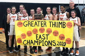 The 2019-2020 girls varisty basketball team celebrated winning the Greater Thumb Confernce Eat title after defeating the Brown City Green Devils on Thursday night.