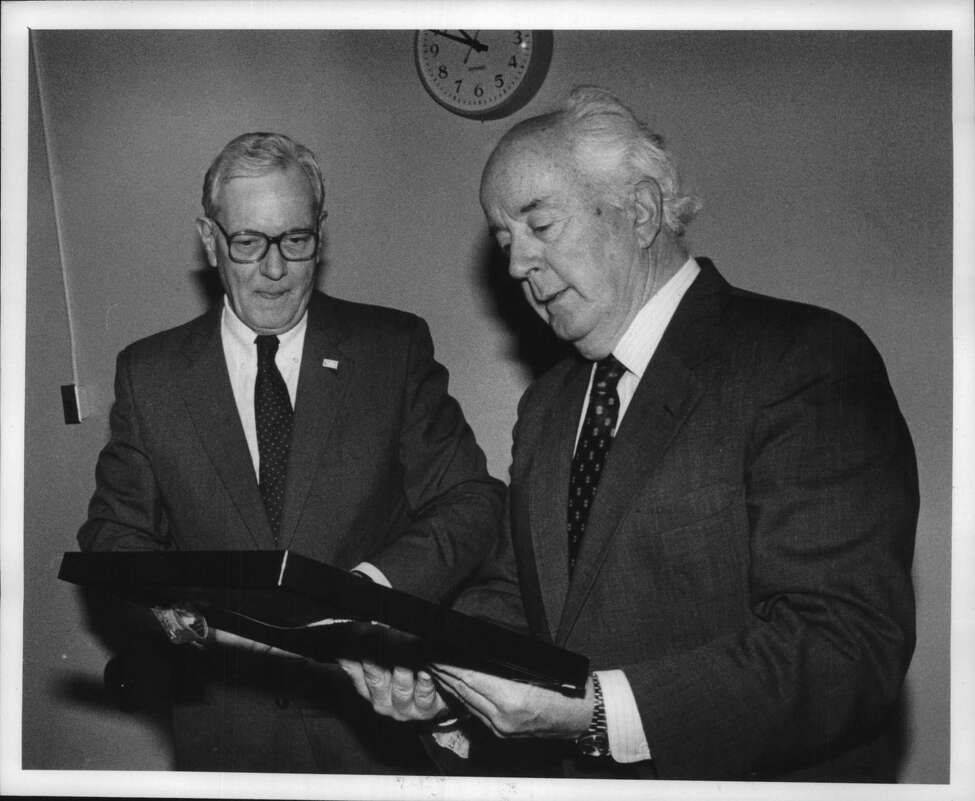 Center for the Disabled, Manning Boulevard, Albany, New York - Gerald B. Fitzgerald presenting a painting to Joseph T. Lyons. December 05, 1990 (Arnold LeFevre/Times Union Archive)