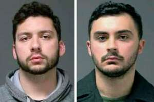 FILE - These 2019 file booking photos provided by the University of Connecticut Police Department show UConn students Jarred Mitchell Karal, left, and Ryan Mucaj, who were arrested in 2019 for shouting a racial slur outside a campus apartment complex. They were charged under a 1917 law that makes it a misdemeanor for anyone who ridicules or holds up to contempt certain classes of people. Professors and groups including the American Civil Liberties Union raised free speech concerns after the arrests. A public hearing is scheduled for Friday, Feb. 21, 2020, on a bill before the state legislature's Judiciary Committee that would repeal the law. (UConn Police Department via AP, File)