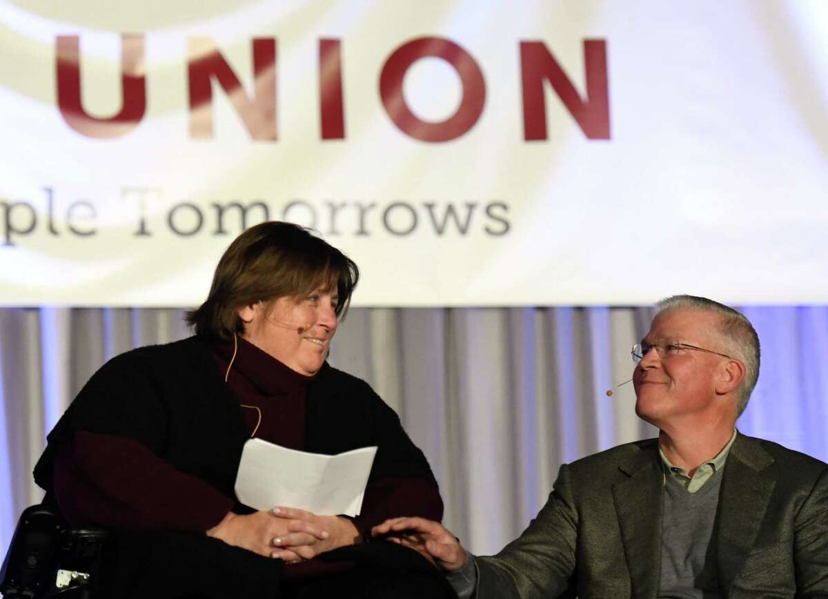 Union College class of 1980 graduates Rich and Mary Templeton announce their donation of $51 million to their alma mater on Friday, Feb. 21, 2020, at Union College in Schenectady, N.Y. The donation will create the Templeton Institute for Engineering and Computer Science. Rich Templeton is chairman, president and CEO of Texas Instruments. (Will Waldron/Times Union)